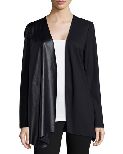 Relaxed Waterfall Jacket with Leatherette Panel