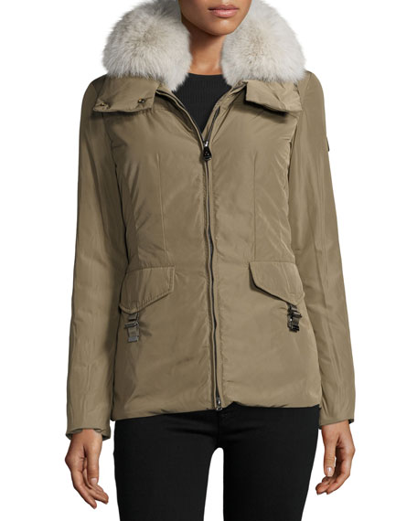 Felicity Fur-Trim Water-Repellant Jacket, Green