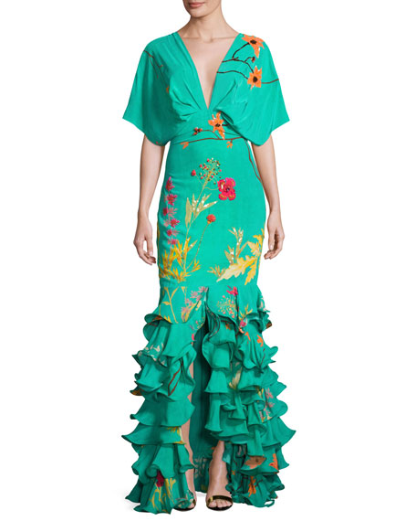 Johanna Ortiz Caribe Floral Ruffled-Hem Dress, Green/Orange