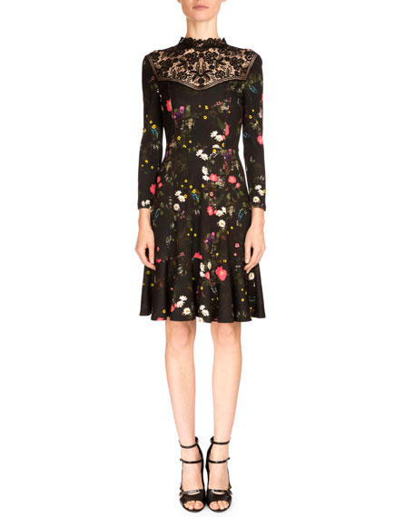 Erdem Reiko 3/4-Sleeve Floral-Print Dress,
