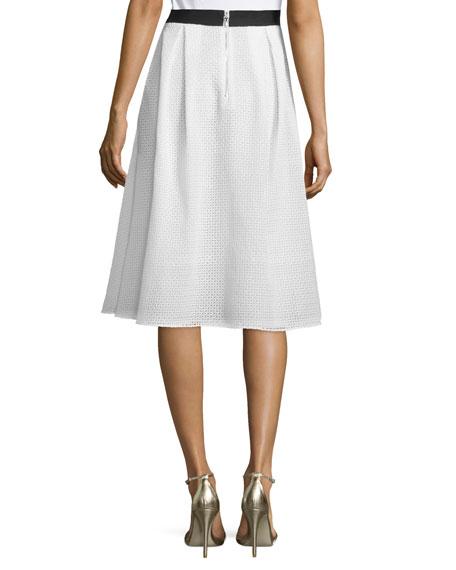 Eyelet Embroidered Midi Skirt, Ivory