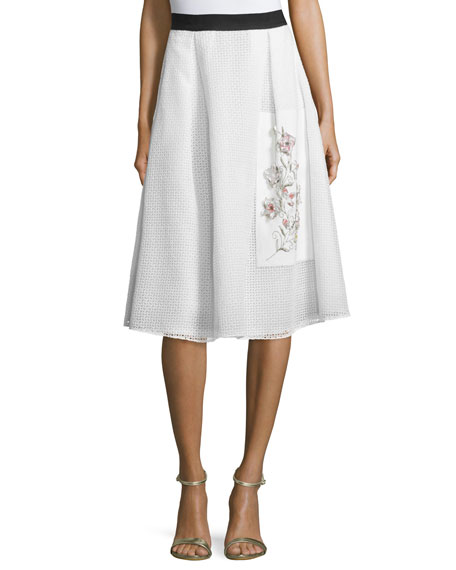 Sachin & Babi Eyelet Embroidered Midi Skirt, Ivory