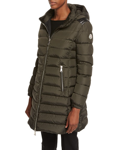 Orophin Long Puffer Coat w/Leather Trim, Olive