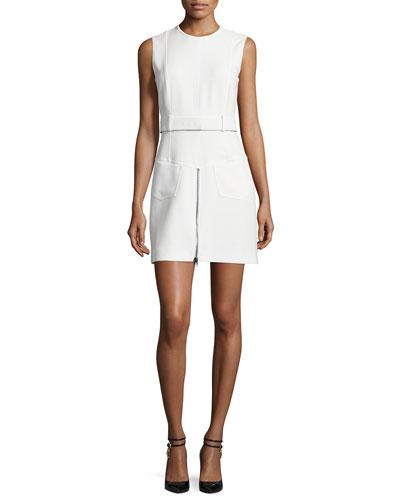Sleeveless Zip-Front Sheath Dress