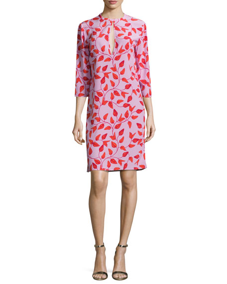 Johanna Ortiz Libertad Leaf-Print Keyhole Tunic Dress, Red/Pink
