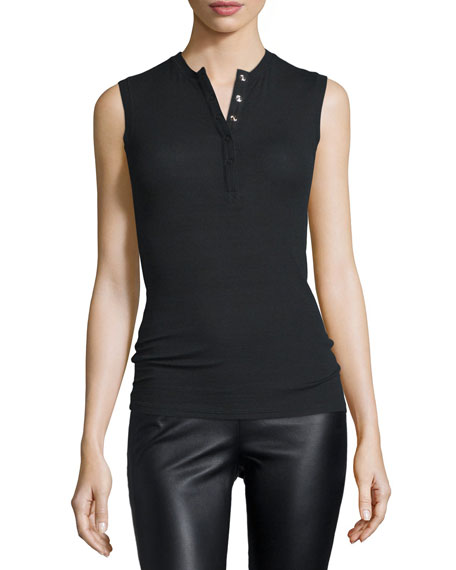 ATM Anthony Thomas Melillo Sleeveless Stretch Henley Tee,
