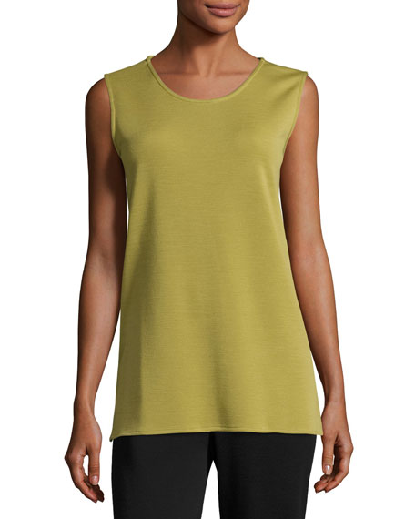 Long Knit Wool Tank, Leaf, Petite