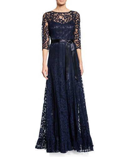 3/4-Sleeve Lace Overlay Gown