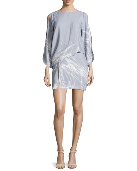 Halston Heritage Split-Sleeve Bateau-Neck Graphic Shift Dress,