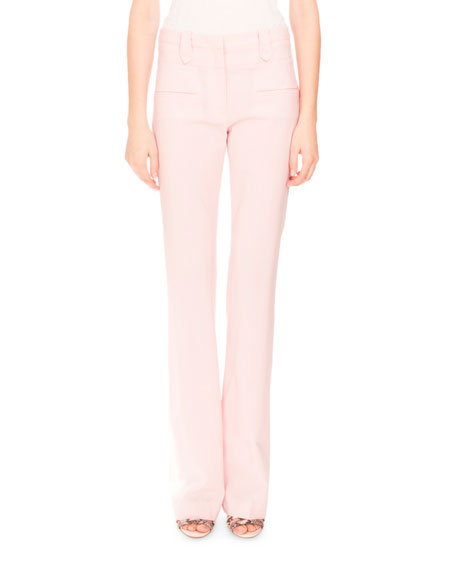 Altuzarra Serge Zip-Front Flare-Leg Pants, Shell Pink