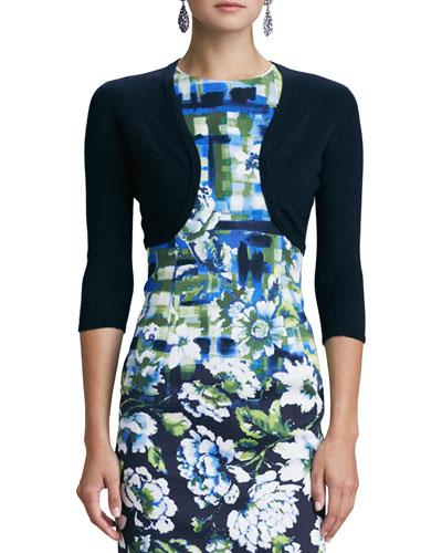 3/4-Sleeve Cashmere/Silk Knit Bolero Cardigan, Navy