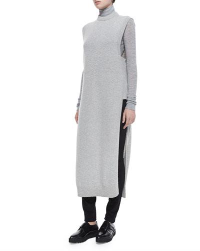 Mock-Neck Sleeveless Long Sweater