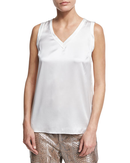 Silk-Blend V-Neck Shell