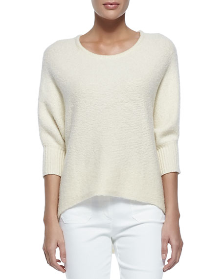 Michael Kors Collection Dolman-Sleeve Crewneck Sweater, Vanilla