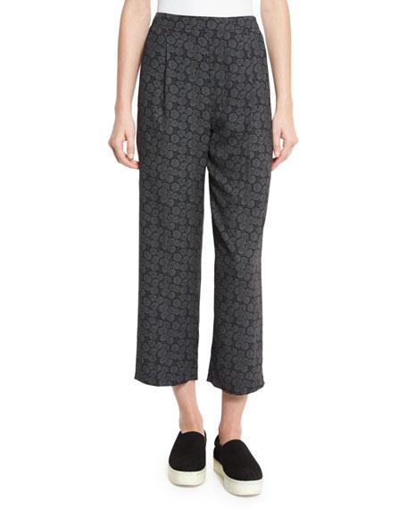 Vince Tie-Print Pull-On Pants, Black/Shark