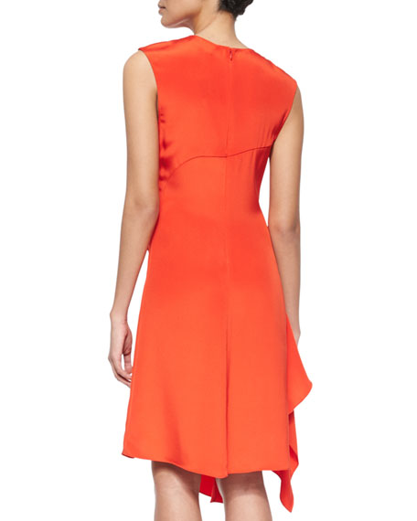 Sleeveless Silk Ruffle-Drape Dress