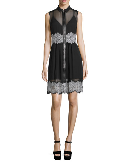McQ Alexander McQueen Sleeveless Collared Silk Dress, Black
