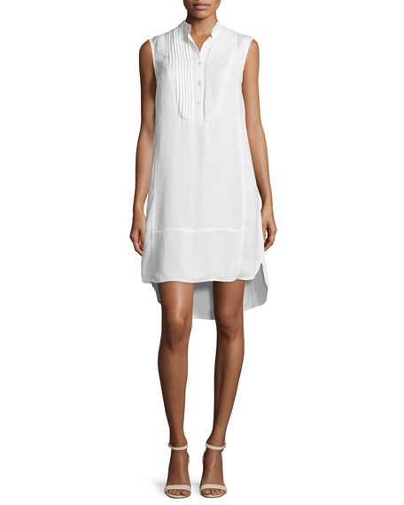 ATM Anthony Thomas Melillo Sleeveless Flaxen Tuxedo Shirtdress