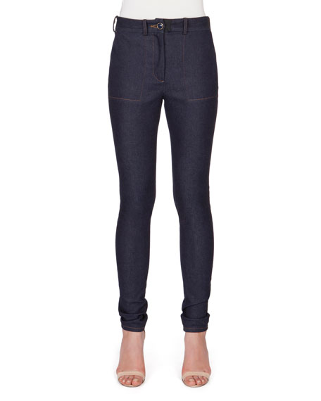 High-Waist Skinny-Leg Denim Jeans, Indigo