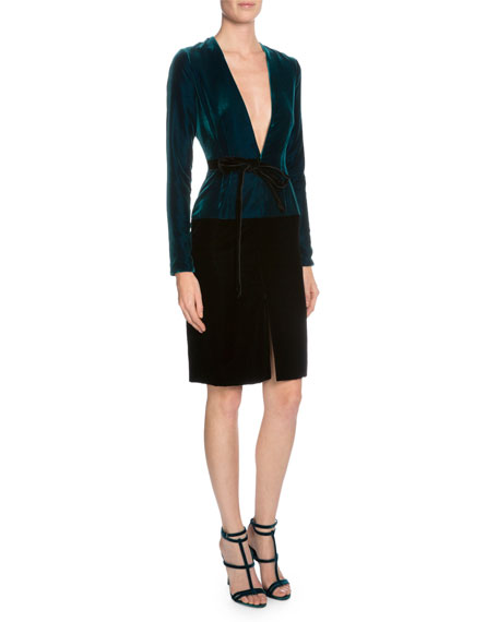 TOM FORD Long-Sleeve V-Neck Combo Dress, Peacock Blue