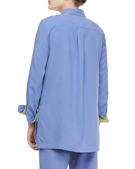 Colorblocked Silk Shirt, Plus Size
