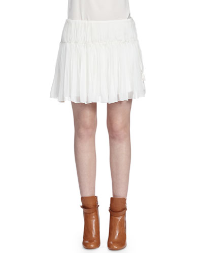 Tassel-Detailed Gathered Mini Skirt