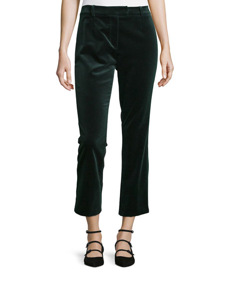 Velvet Cropped Pants, Spruce Green