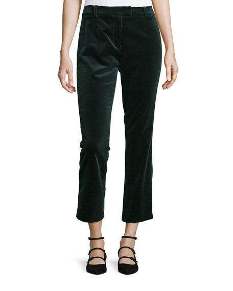 Velvet Cropped Pants, Spruce Green