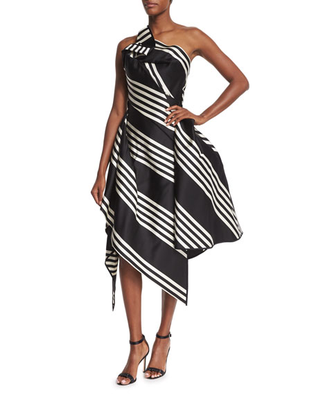 One-Shoulder Striped Cocktail Dress, Black/White