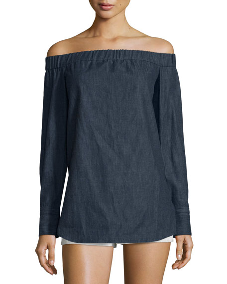 Leighton Long-Sleeve Silk Shirtdress, Army