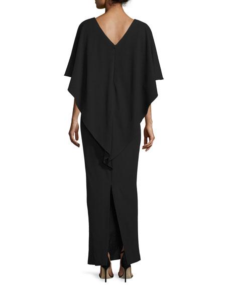 Sydney Embellished Popover Gown, Black