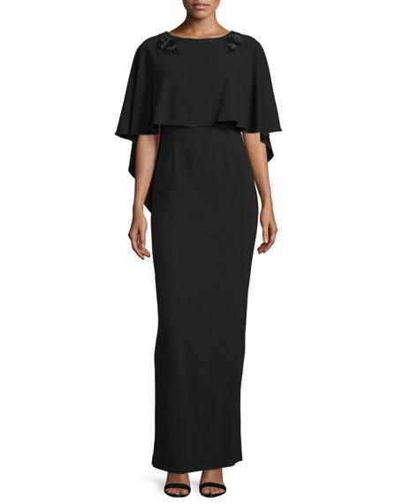 ZAC Zac Posen Sydney Embellished Popover Gown, Black