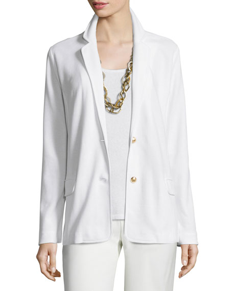 Joan Vass Two-Button Pique Blazer, White, Petite