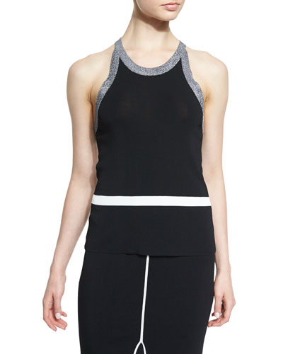 Lucine Stretch Racerback Tank, Black/White
