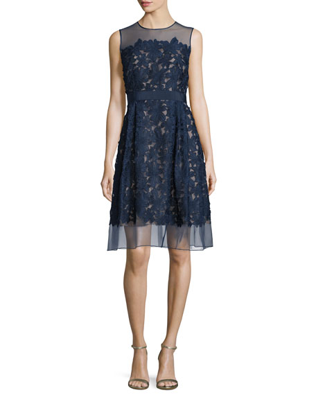 Sleeveless Lace Fit & Flare Cocktail Dress, Midnight