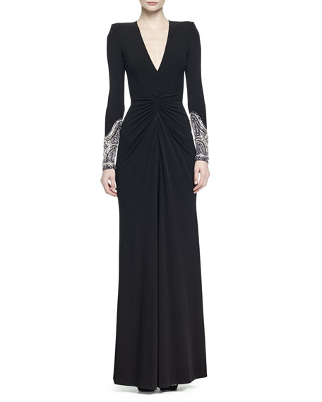 Alexander McQueen Crystal-Embellished Ruched Gown