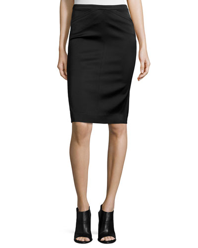Tuxedo-Fabric Pencil Skirt