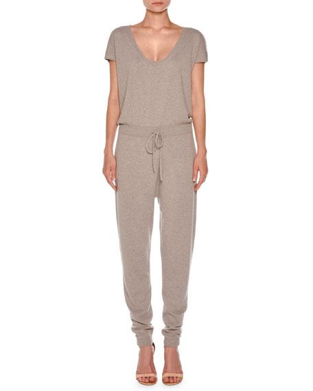 Short-Sleeve Cashmere Drawstring Jumpsuit, Taupe