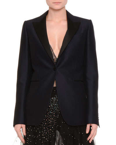 One-Button Boxy Tuxedo Jacket