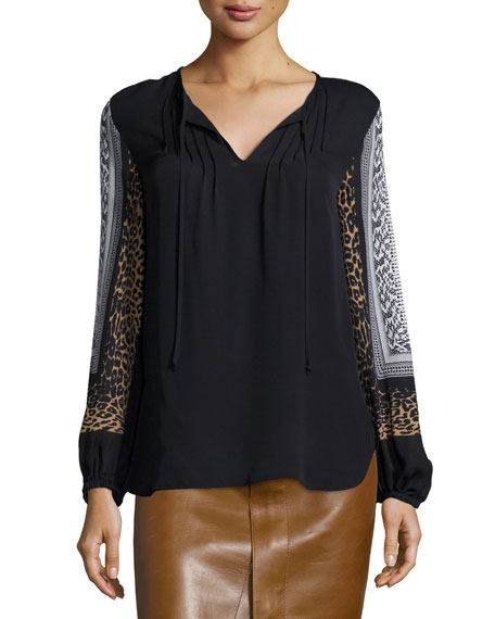 Kobi Halperin Lilly Silk Mixed-Print Blouse