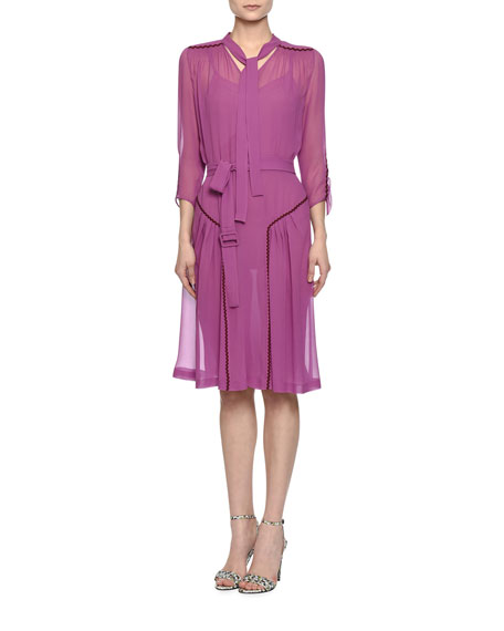 3/4-Sleeve Ric Rac-Hip Belted Dress, Peony/Lavender