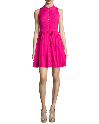 Sleeveless Collared Shirtdress, Geranium