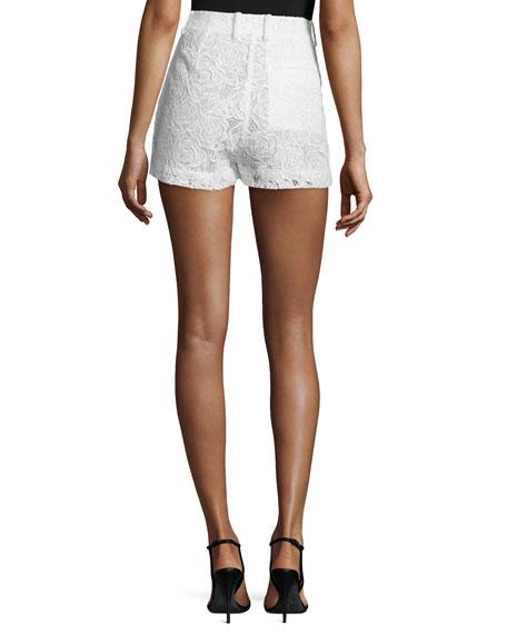 Lace High-Rise Shorts, Ivory