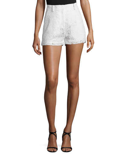 Lace High-Rise Shorts, Ivory
