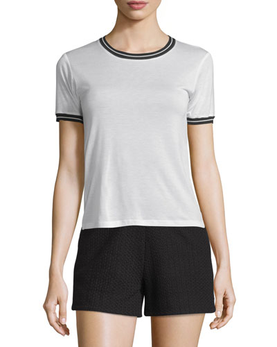 Stevie Tipped Jersey Tee, Blanc