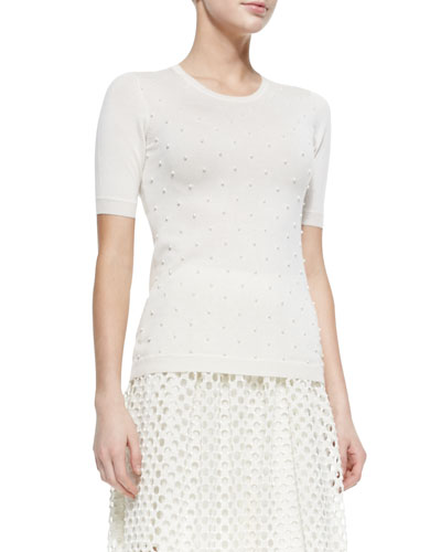 Pearl-Beaded Short-Sleeve Sweater