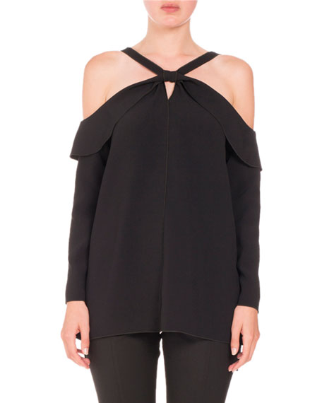 Proenza Schouler Long-Sleeve Off-Shoulder Knot Top