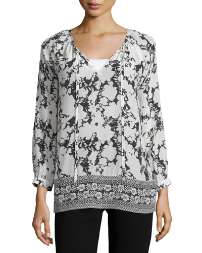 Megan Printed Long-Sleeve Tunic, Plus Size