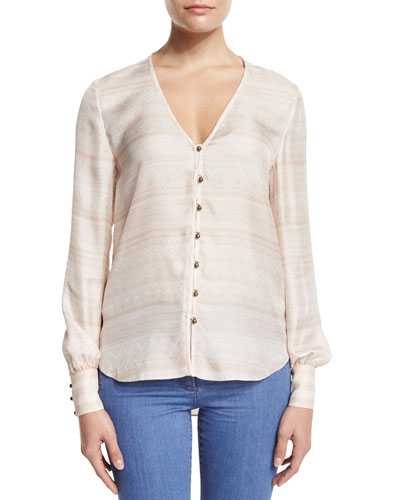 Bahia Silk Multipattern Blouse, Blush