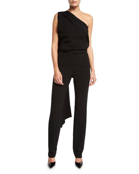 Draped One-Shoulder Belted Jumpsuit, Black
